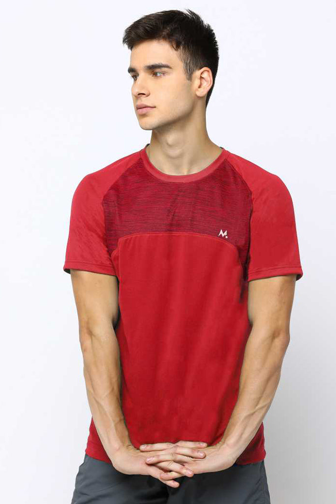 MANIAC Color Block Men Round Neck Red T-Shirt ()