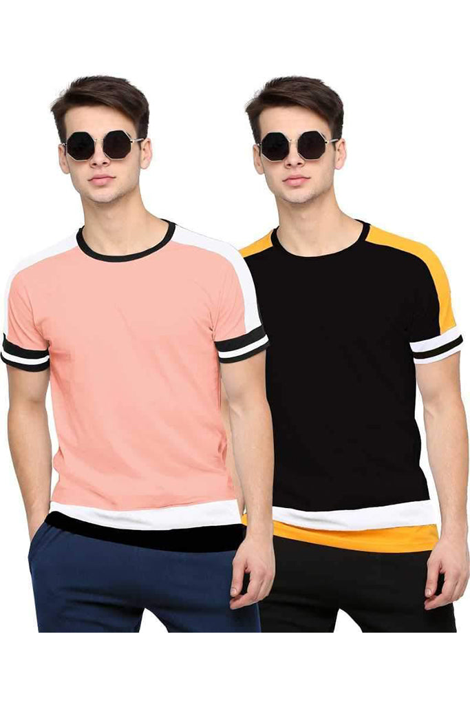 MANIAC Color Block Men Round Neck Pink, Black T-Shirt (Pack of 2)