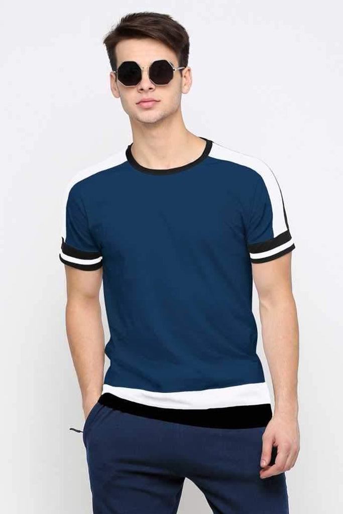 MANIAC Color Block Men Round Neck Dark Blue, Red T-Shirt (Pack of 2)