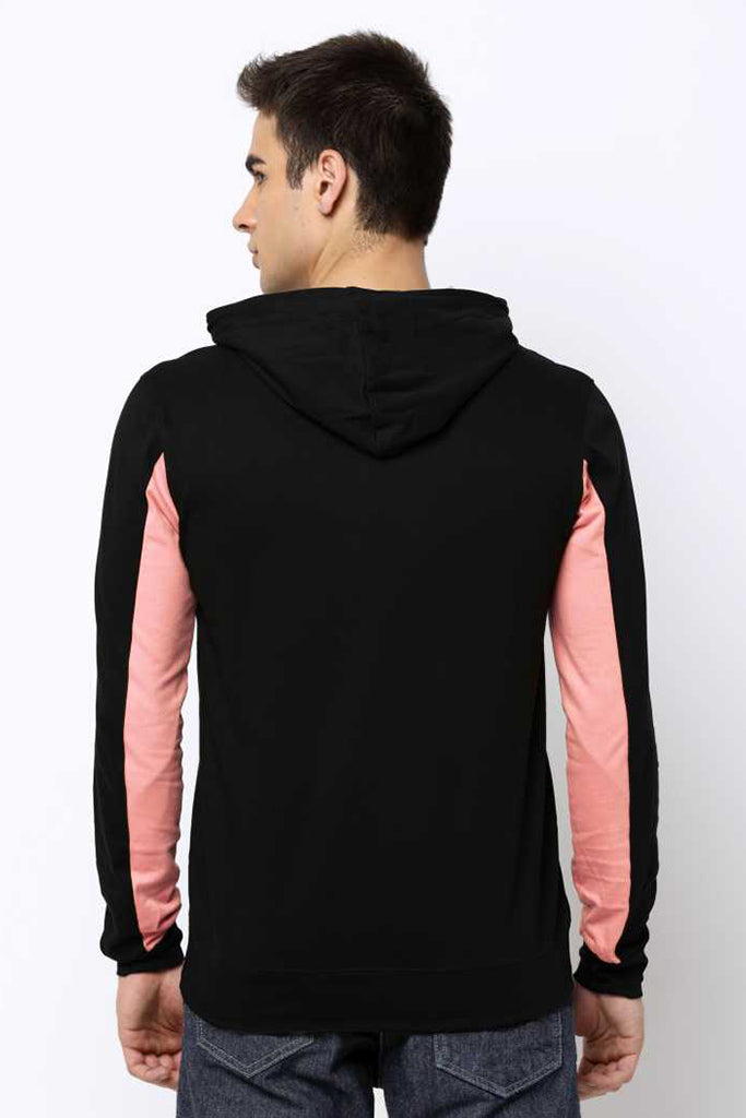 MANIAC Printed Men Hooded Neck Black T-Shirt