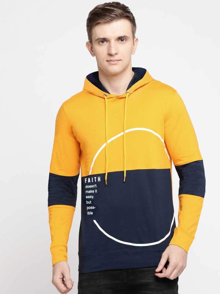 MANIAC Printed, Color Block, Typography Men Hooded Neck Dark Blue, Yellow T-Shirt