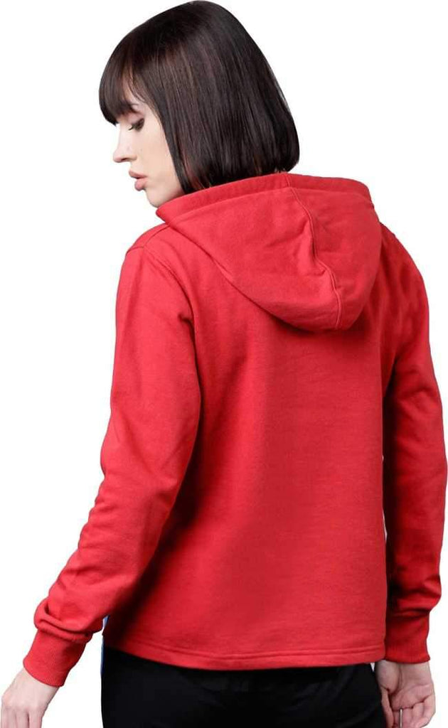 MANIAC Printed Women Hooded Neck Red T-Shirt