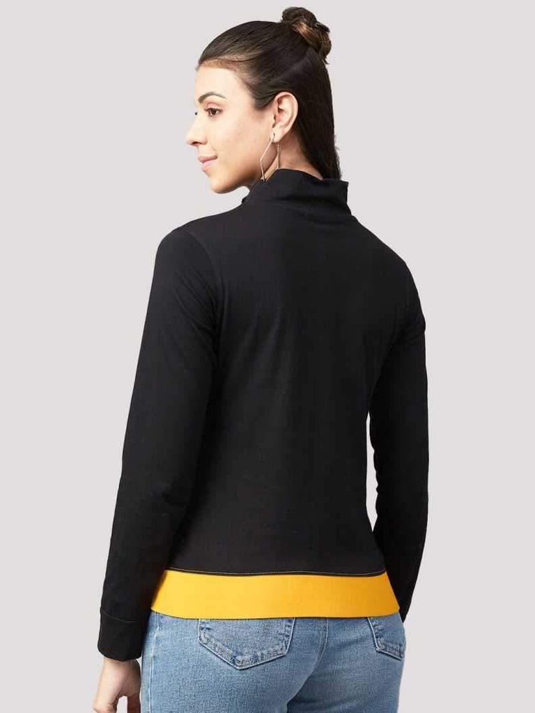 MANIAC Graphic Print Women Cowl Neck Black, Yellow T-Shirt - ManiacLife.com
