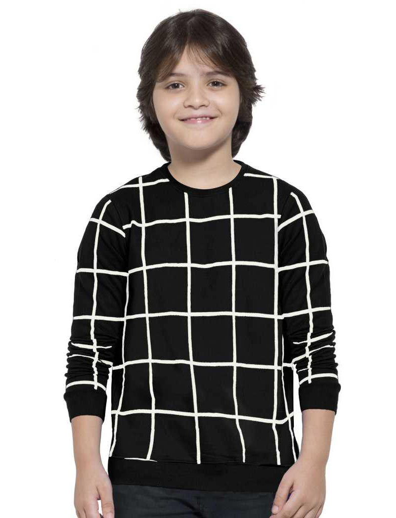 MANIAC Boys Checkered Pure Cotton T Shirt (Black, Pack of 1)