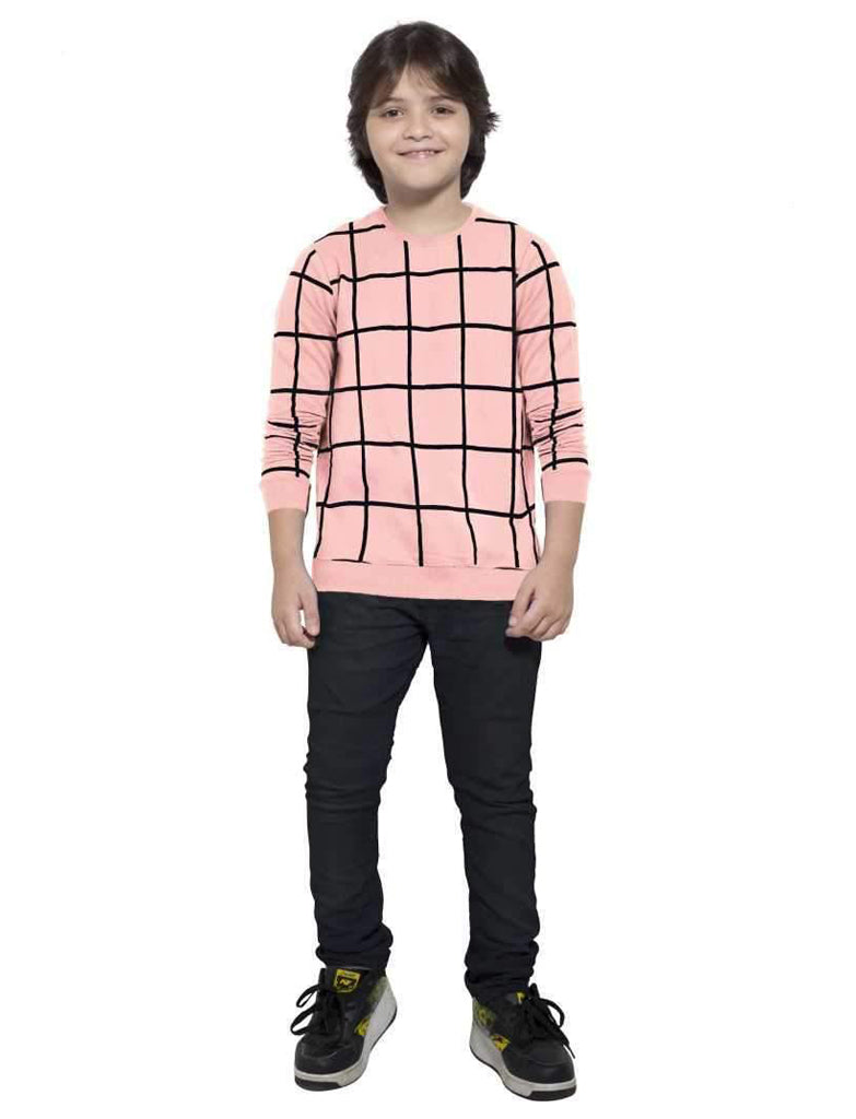 MANIAC Boys Checkered Pure Cotton T Shirt (Pink, Pack of 1) - ManiacLife.com