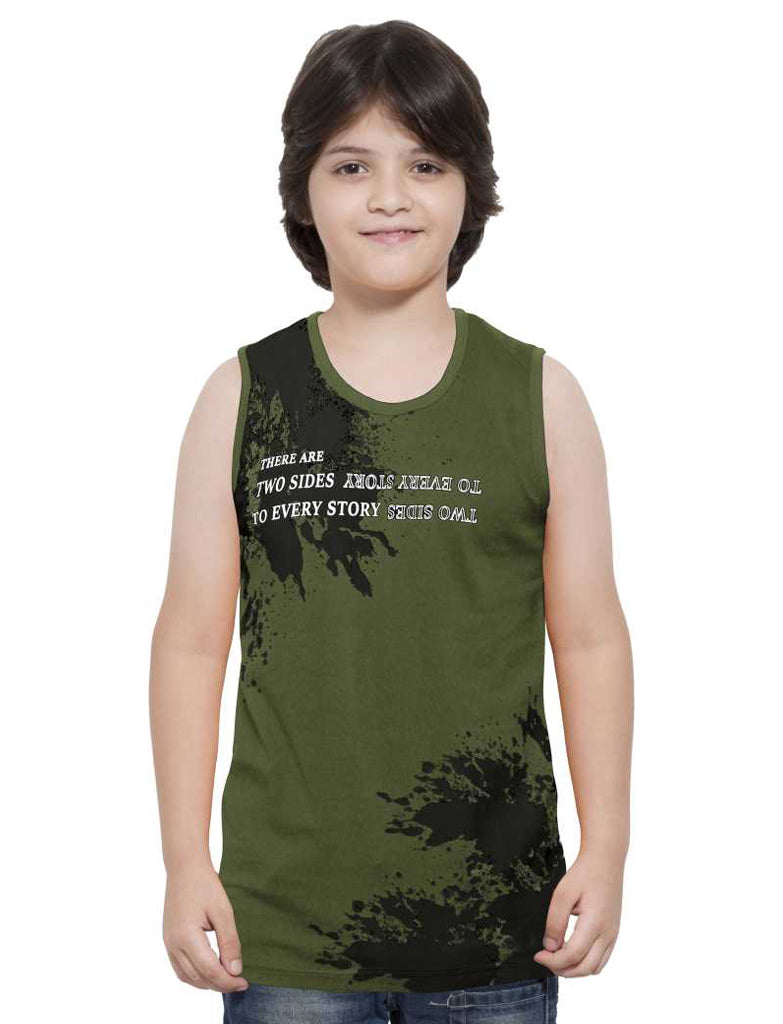 MANIAC Vest For Boys Pure Cotton (Dark Green, Pack of 4)