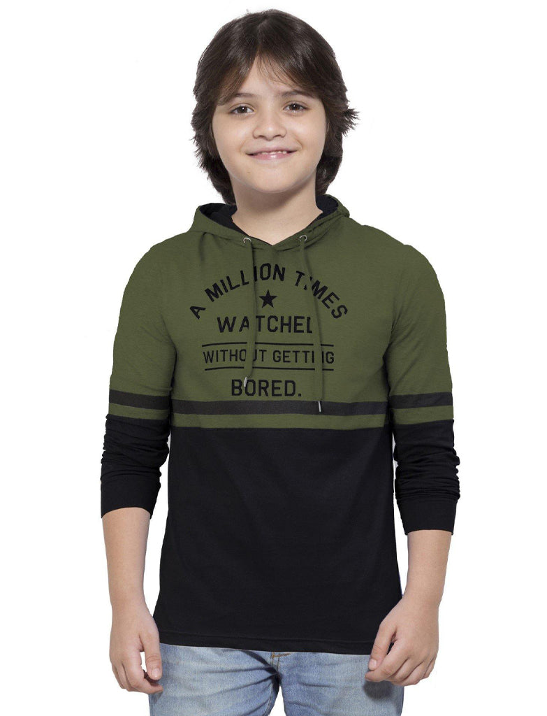MANIAC Boys Printed Pure Cotton T Shirt (Green, Pack of 1)