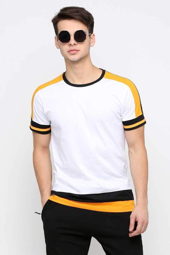 MANIAC Color Block Men Round Neck White, Black, Yellow T-Shirt - ManiacLife.com