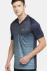 MANIAC Printed Men Polo Neck Reversible Dark Blue, Black T-Shirt