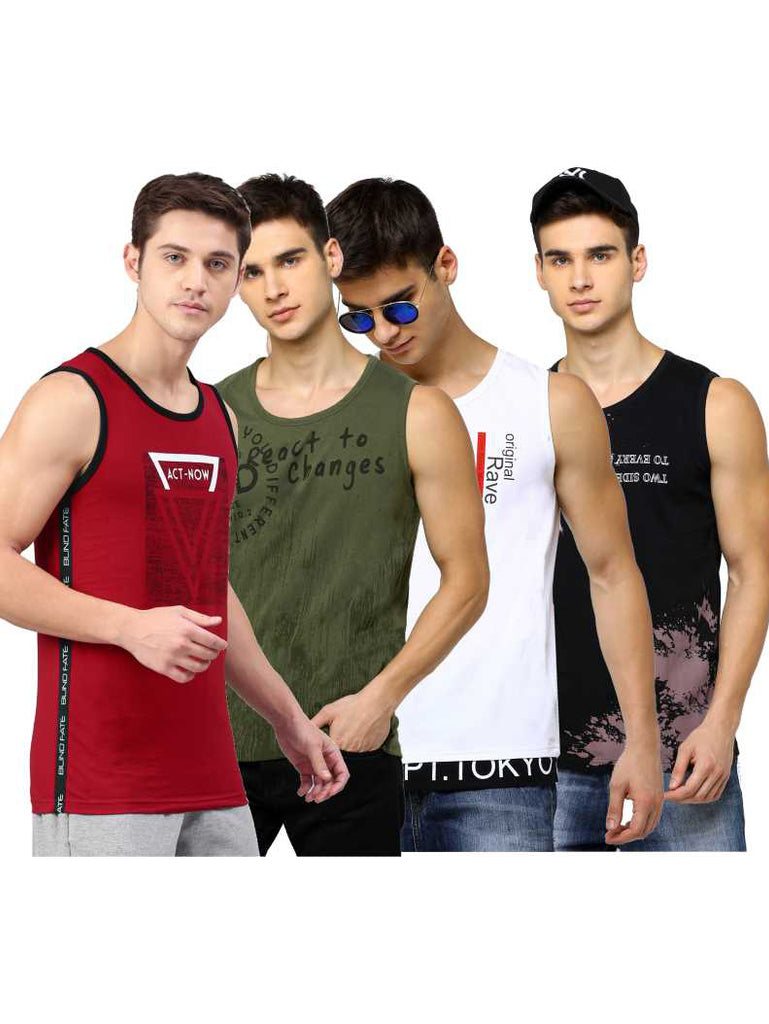 MANIAC Men Vest (Pack of 4)