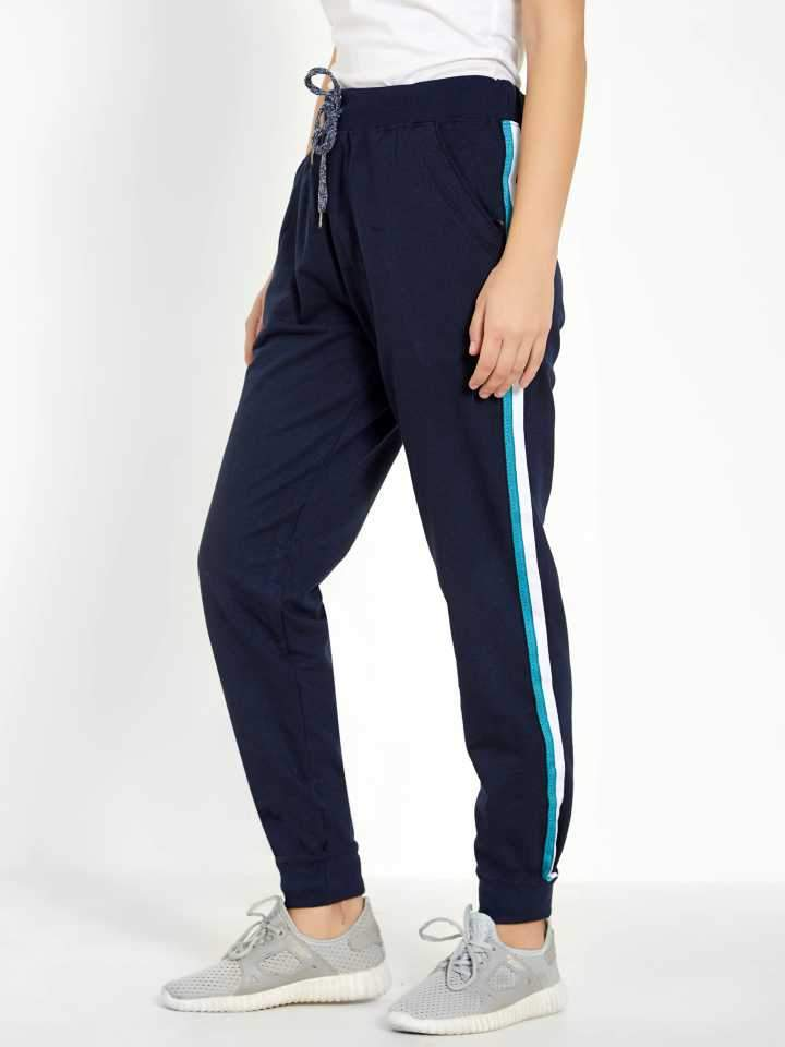 MANIAC Color Block Women Blue Track Pants