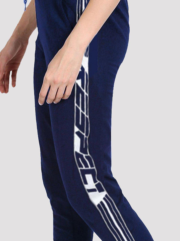 MANIAC Printed Women Dark Blue, White Track Pants