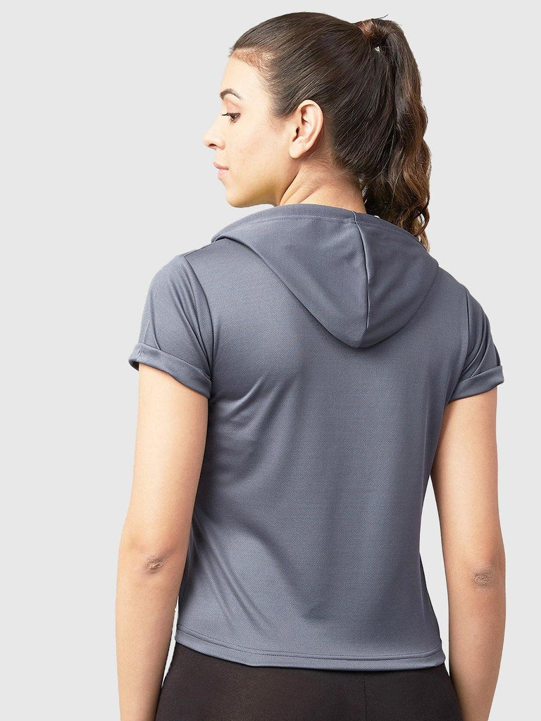 MANIAC Solid Women Hooded Neck Grey, Light Green T-Shirt - ManiacLife.com