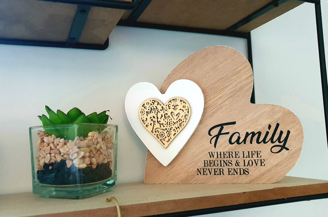 Double Heart Laser Cut Wooden Mini Plaque - Family