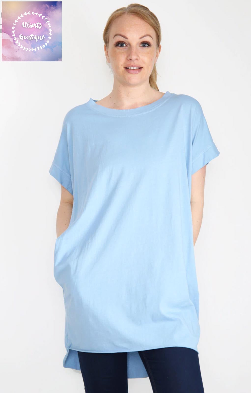 Cotton basic tunic with pcokets. 8 colours