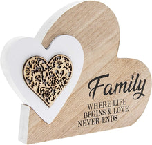 Load image into Gallery viewer, Double Heart Laser Cut Wooden Mini Plaque - Family