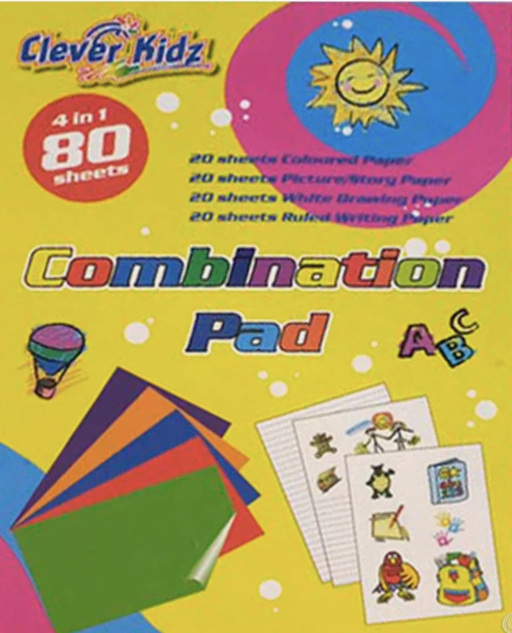 4IN1 240 SHEETS PAPER COMBO STATIONERY PAD COLOURED, WHITE, RULED, PICTURE STORY WRITE