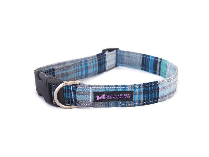 Blue Plaid Dog Collar Marshall