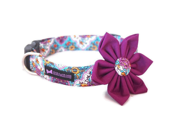 Dog Collar Flower Set Vintage