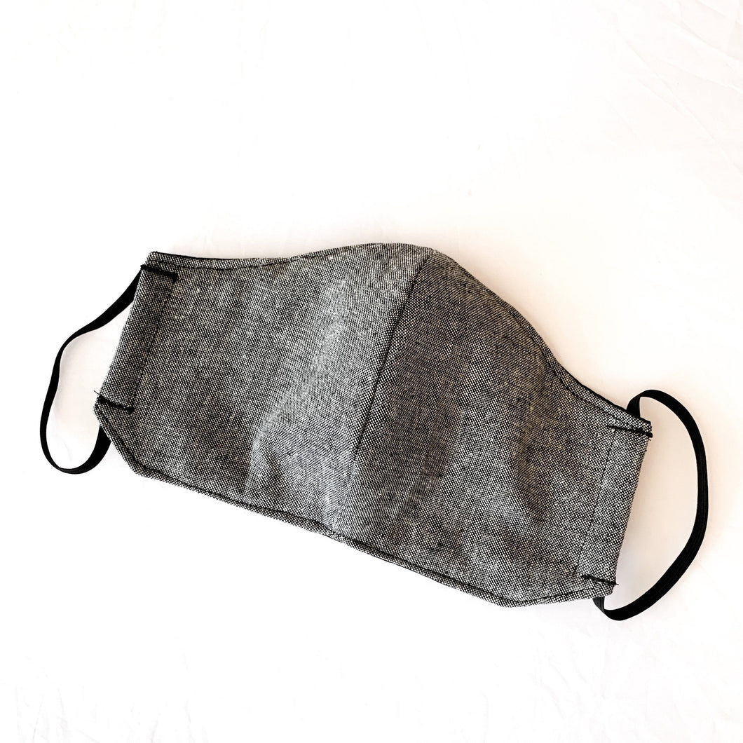 Felix Black grey linen  women's mens Face Mask