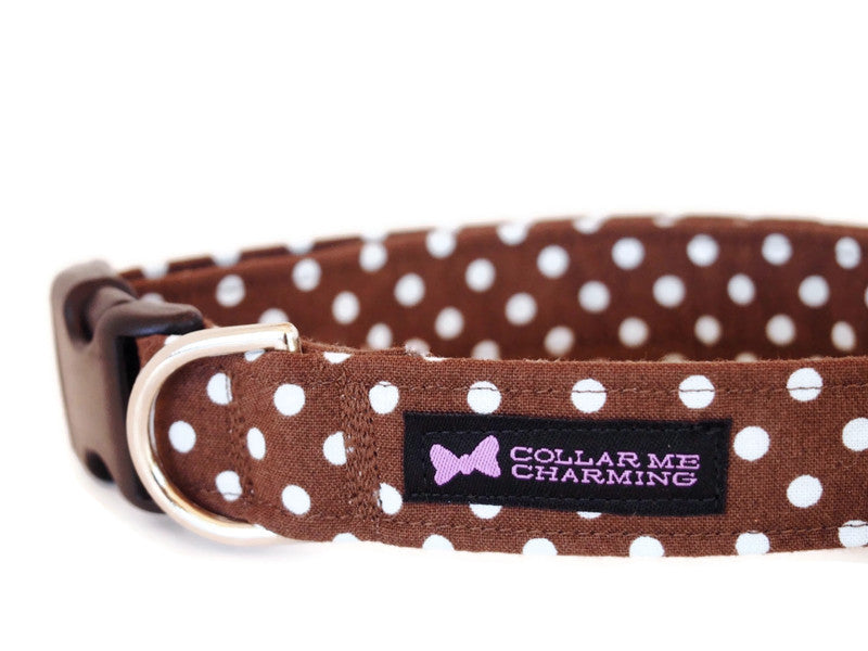 Brown Polka Dot Dog Collar Dottie