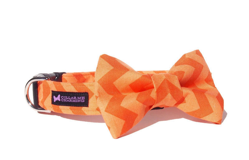 Chevron Dog Collar Bow Tie Set - Orange