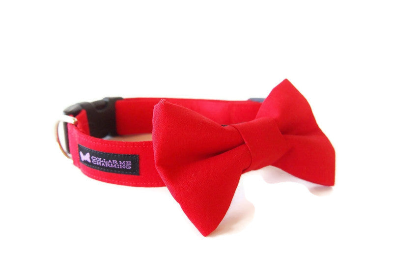 Classic Dog Collar Bow Tie Set Red