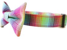 Load image into Gallery viewer, Rainbow Plaid Dog Collar Bow Tie Set Starburst