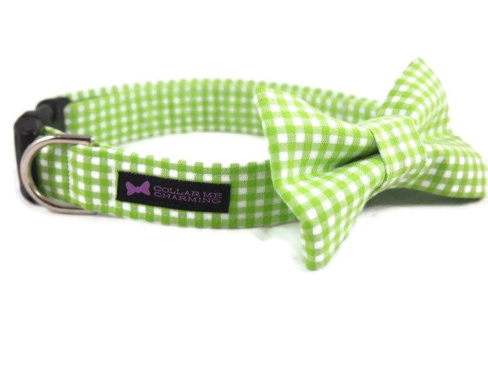 Green Gingham Dog Collar Bow Tie Set