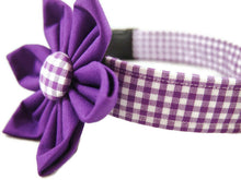 Load image into Gallery viewer, Purple Gingham Collar Flower Set