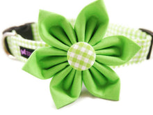 Load image into Gallery viewer, Green Gingham Collar Flower Set