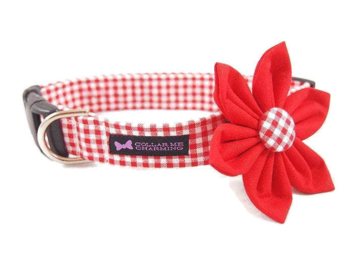 Red Gingham Collar Flower Set