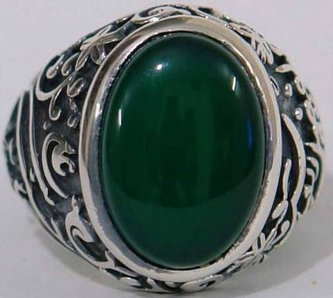Imam Hussain and Abul-Fadel Al-Abbas Natural Chrysoprase Green Aqeeq Sterling Silver 925 Ring