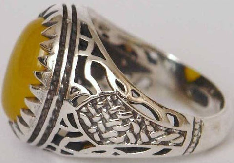 Natural Yellow Aqeeq Sterling Silver 925 Ring