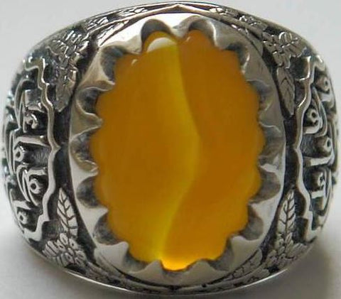 Imam Ali Name on Rings Sides with Natural Yellow Agate Aqeeq Sterling Silver 925 Ring