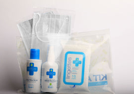 Kit complet : Masques type IIR - Gel hydro-alcoolique 70ml - Spray 70ml - Lingettes