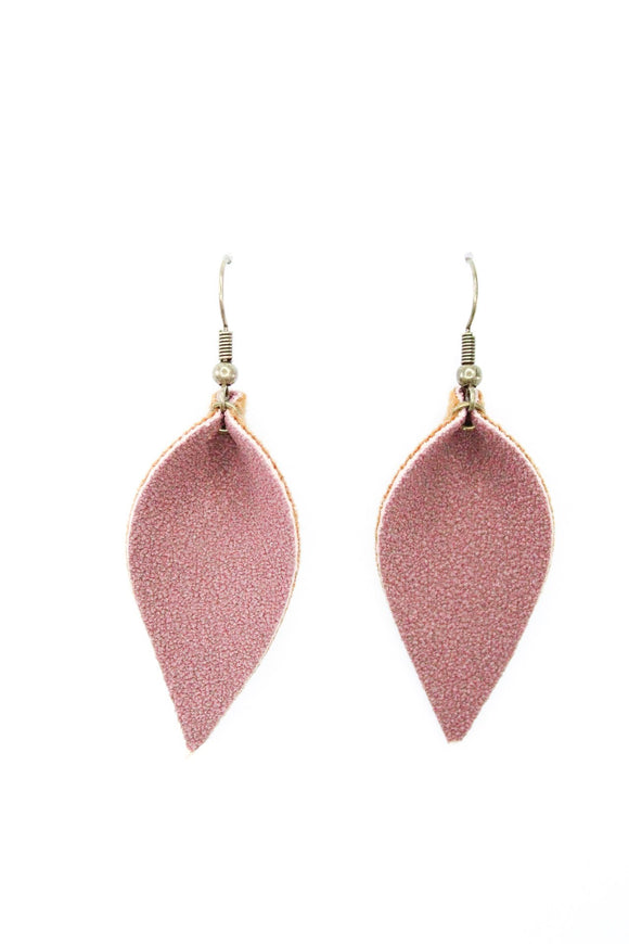 Plum Faux Suede Leaf Earrings