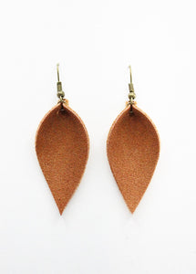Russet Faux Suede Leaf Earrings