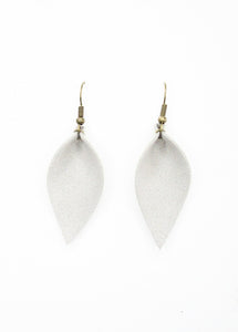 Gray Faux Suede Leaf Earrings