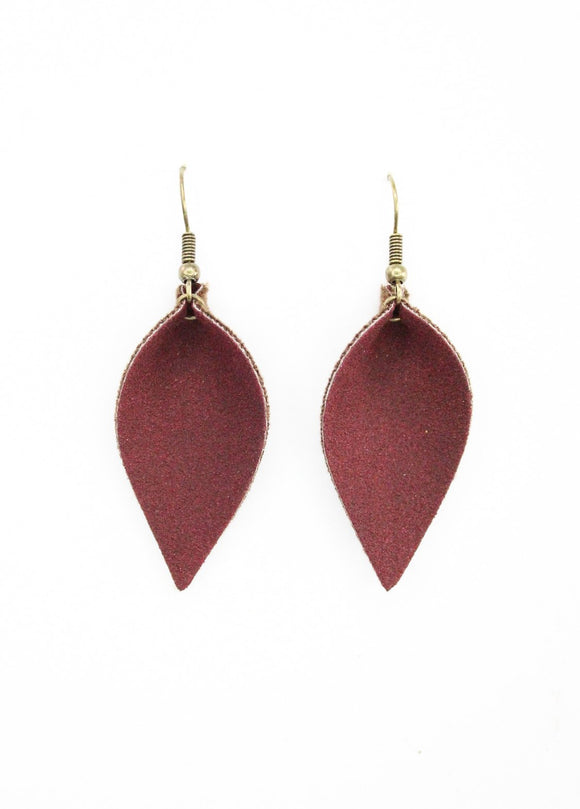 Bergundy Faux Suede Leaf Earrings