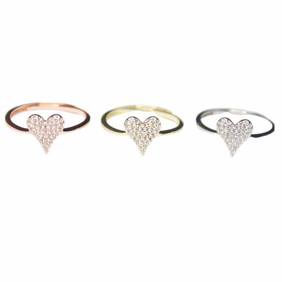Pave Heart Adjustable Ring
