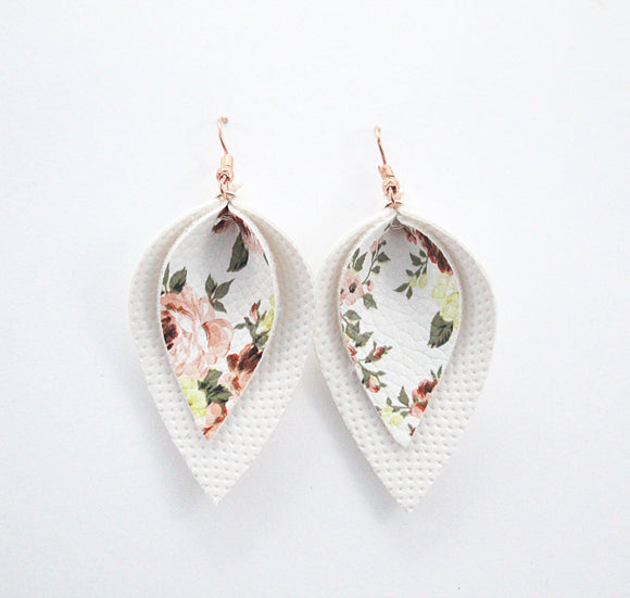 Peach Floral Double Leaf Earrings