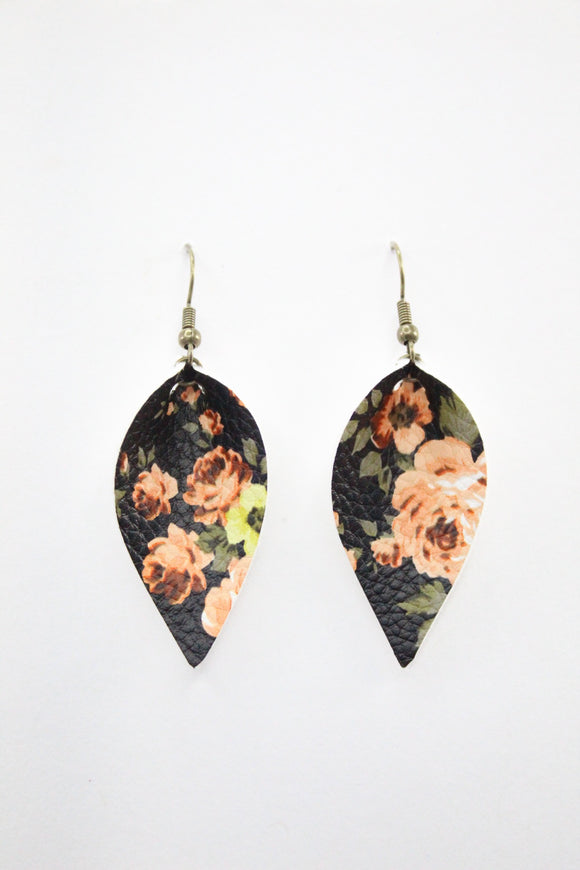 Black Floral Leaf Earrings
