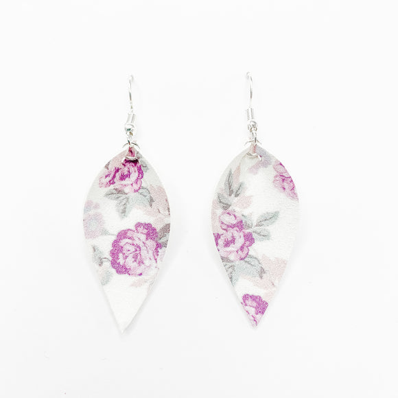 Shimmery Purple Floral Leaf Earrings