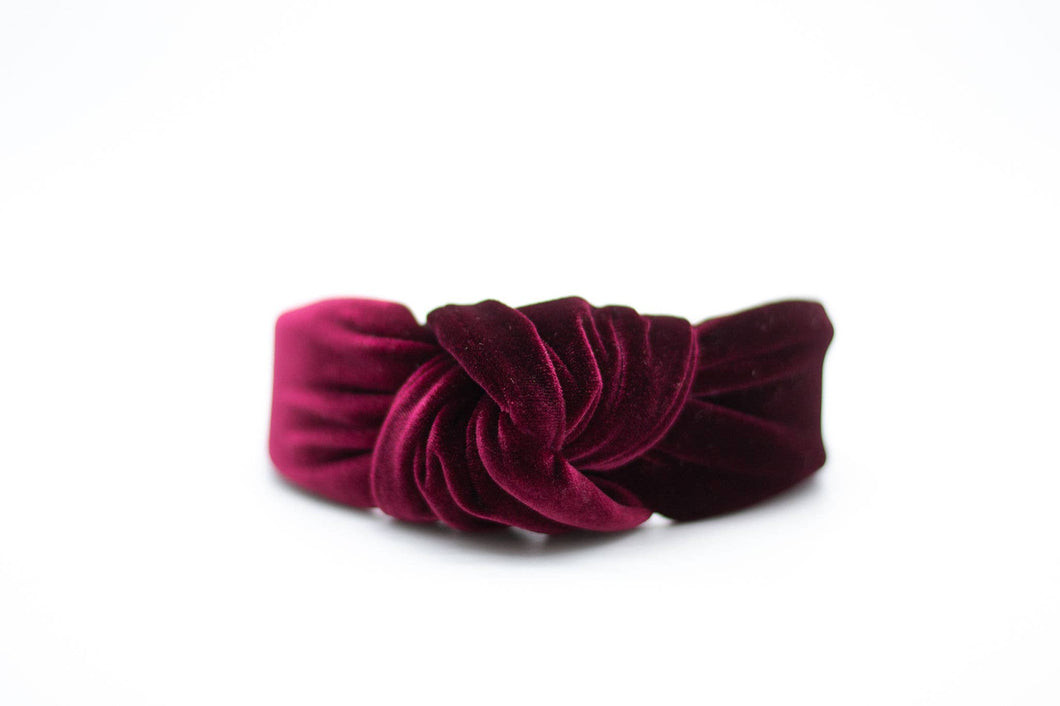 Wine Red Velvet Headband