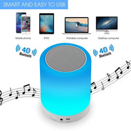 LED Cool Touch Lamp Bluetooth Speaker, Wireless HiFi Speaker Light, USB Rechargeable Portable with TWS