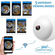 1.3MP 960p Bulb Shape Fisheye 360° Panoramic Wireless CCTV Security Camera with Night Vision (Optional Cloud Storage)