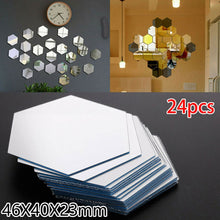 Load image into Gallery viewer, 24pcs 3D Mirror Wall Sticker Hexagon Mirror