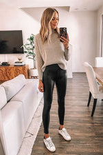 Afbeelding in Gallery-weergave laden, Leatherlook Legging LM1060 Zwart