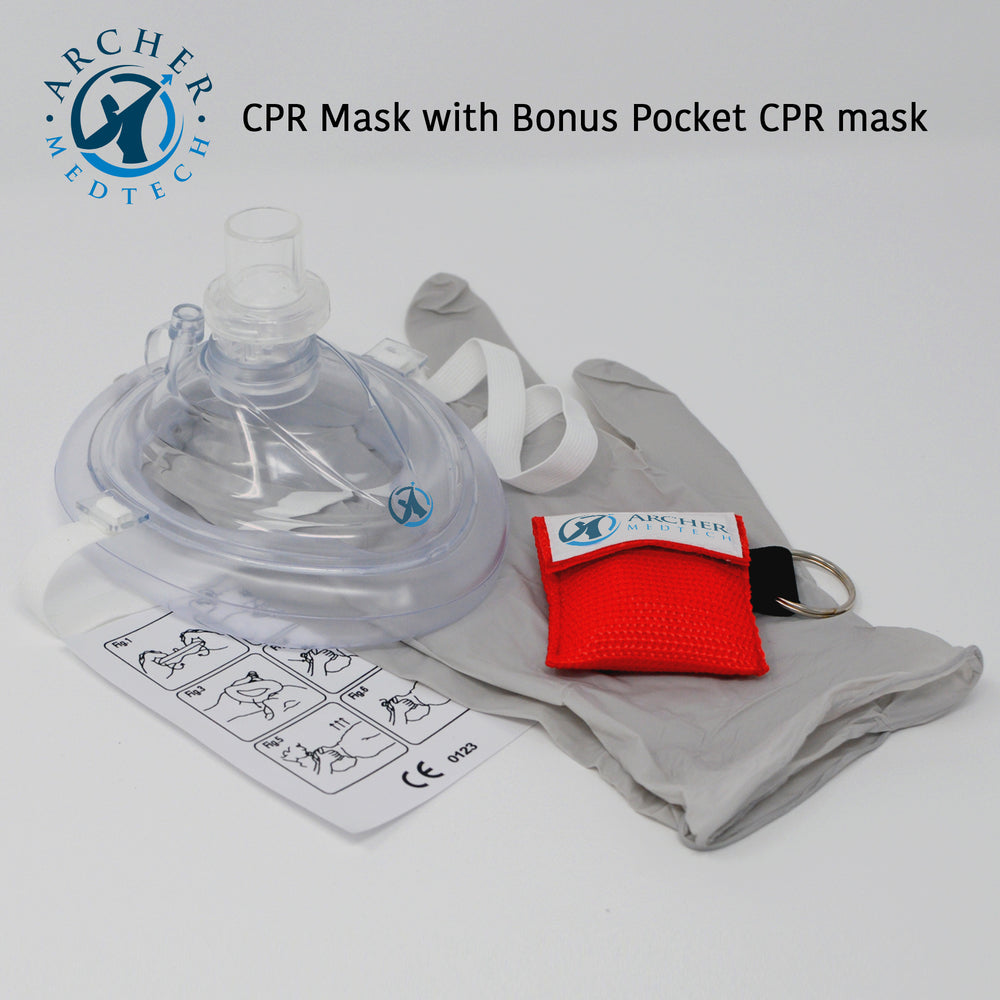 Archer MedTech CPR Mask with One-Way Breath Valve - First Aid Face Shield - Includes Bonus keychain CPR Mask